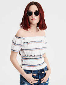American Eagle AE Smocked Off-The-Shoulder Top