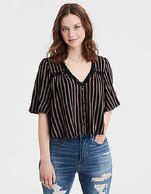 American Eagle AE Lace Inset Short Sleeve Blouse