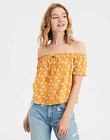 American Eagle AE Ditsy Print Off-The-Shoulder Top