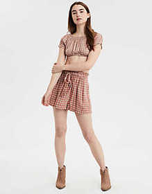 American Eagle AE Plaid Off-The-Shoulder Top