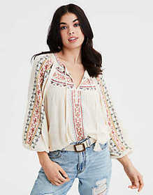 American Eagle AE Embroidered Peasant Top