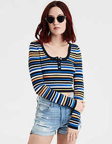 American Eagle AE Striped Bodycon Henley Pullover