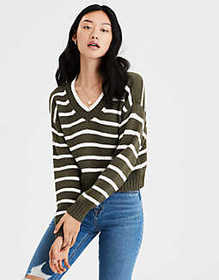American Eagle AE Striped V-Neck Pullover Sweater