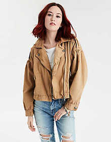 American Eagle AE Puff Sleeve Moto Jacket