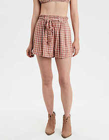 American Eagle AE Plaid Paperbag Short