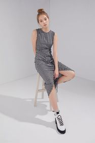 UO Cohen Checkered Cinch-Front Midi Dress