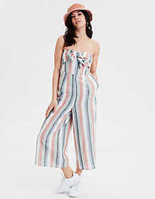 American Eagle AE Striped Tie Front Jumpsuit