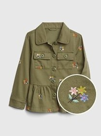 Toddler Floral Peplum Jacket In Twill