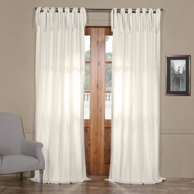 Bulah Solid Tie-Top Single Curtain Panel
