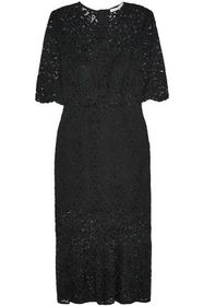 VERONICA BEARD Linden fluted corded lace midi dres