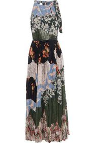 VALENTINO Patchwork lace and floral-print silk cre