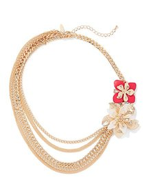 Goldtone Layered Floral Statement Necklace - New Y