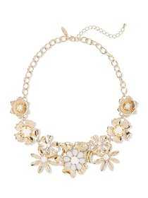 Goldtone Faux-Stone Floral Statement Necklace - Ne