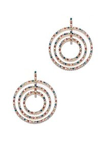 Multicolor Faux-Stone Circular Drop Earring - New