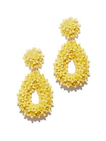 Yellow Floral Open-Oval Drop Earring - New York &