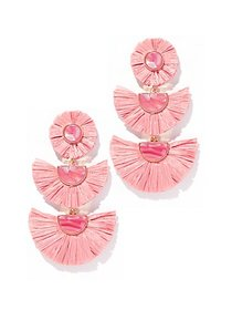 Goldtone Pink Raffia Drop Earring - New York & Com