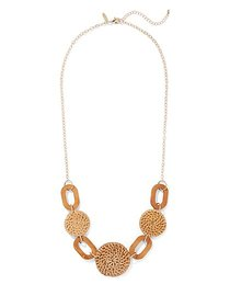 Raffia & Wooden Link Statement Necklace - New York