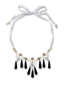 Faux-Stone Ribbon Necklace - New York & Company