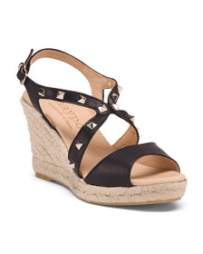 MAYPOL Made In Spain Studded Leather Wedge Sandals