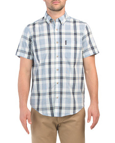 BEN SHERMAN Short Sleeve Dogtooth Check Shirt