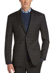 Awearness Kenneth Cole Brown Plaid Slim Fit Suit