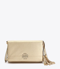 Tory Burch MCGRAW METALLIC FOLD-OVER CROSS-BODY