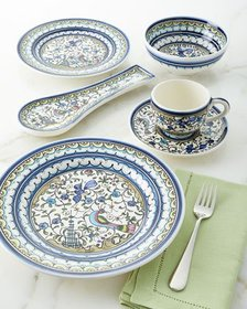 Keramos Nazari Pavoes Blue and Green 20-Piece Dinn