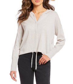 Gianni Bini Harlow Button Front Hooded Long Sleeve
