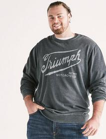 Lucky Brand Big And Tall Triumph Burnout Crew