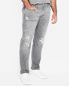 Express slim gray ripped stretch+ jeans