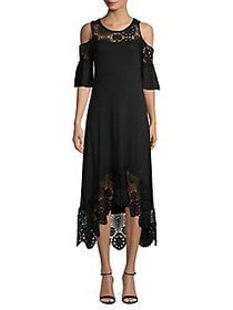Cupio Lace Cold-Shoulder Shift Dress BLACK