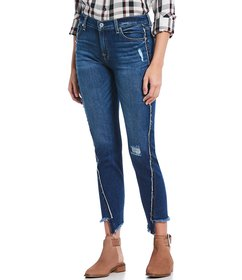 7 for all mankind Frayed Angled Seam Skinny Jeans