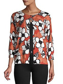 Joseph A Miyo Floral Knit Three-Quarter Sleeve Car