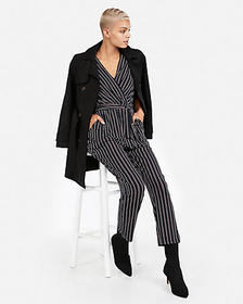 Express striped sash tie waist surplice jumpsuit