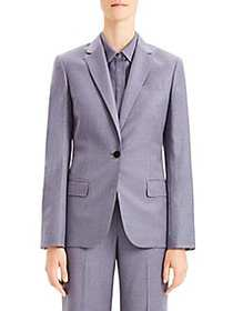 Theory Single-Breasted Wool Blazer LAVENDER
