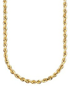 """14k Gold Diamond-Cut Rope Chain 18"""" Necklace (2-1/"""