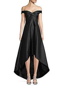 Calvin Klein Off-The-Shoulder High-Low Gown BLACK