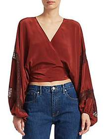 Elizabeth and James Talia Silk Wrap Blouse GARNET