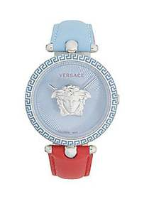 Versace Stainless Steel & Leather-Strap Watch LIGH