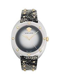 Versace Stainless Steel & Leather-Strap Watch GREY