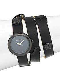 Versace Stainless Steel & Leather-Strap Watch BLAC
