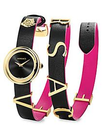 Versace Stainless Steel & Leather-Strap Watch GOLD