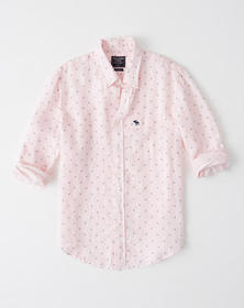Icon Button-Up Linen Shirt, LIGHT PINK PRINT WITH