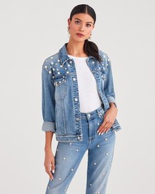 7 For All Mankind Boyfriend Jacket with All Over P