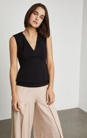 BCBG Sleeveless Tiered Peplum Top