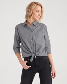 7 For All Mankind Gingham High Low Tie Front Shirt