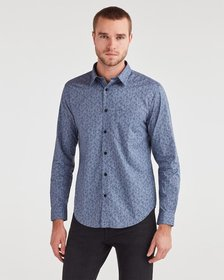 7 For All Mankind Long Sleeve Rose Poplin Shirt in