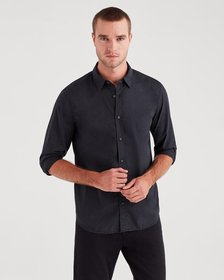 7 For All Mankind Long Sleeve Poplin Shirt in Blac