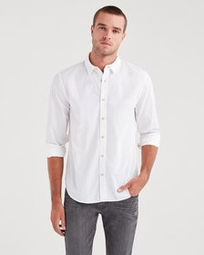 7 For All Mankind Long Sleeve Poplin Shirt in Whit