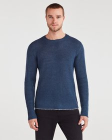 7 For All Mankind Contrast Linking Sweater in Stee